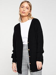 v-by-very-v-front-and-back-buttoned-cardigan-black