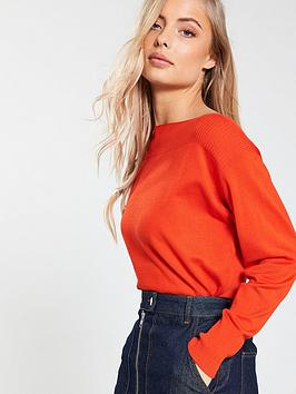 v-by-very-rib-panel-boat-neck-batwing-jumper-red-orange