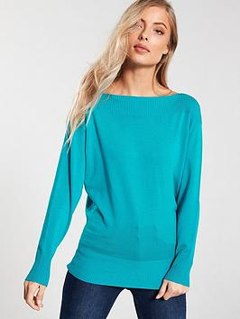 v-by-very-rib-panel-boat-neck-batwing-jumper-jade-green