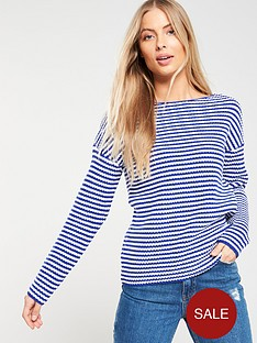 c55b7d51775 V by Very Striped Ribbed Boat Neck Jumper - Blue/White