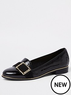 river-island-river-island-patent-buckle-loafers-black