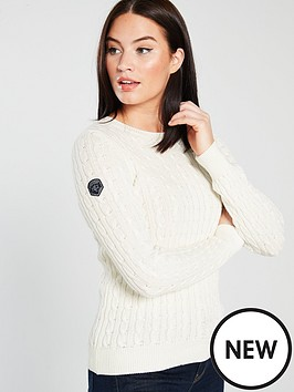 Superdry Croyde Bay Cable Knit Jumper - Cream  5e0f86f99