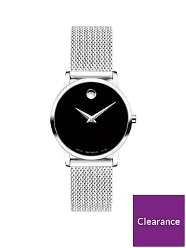 movado-movado-museum-black-and-silver-dial-stainless-steel-mesh-strap-ladies-watch