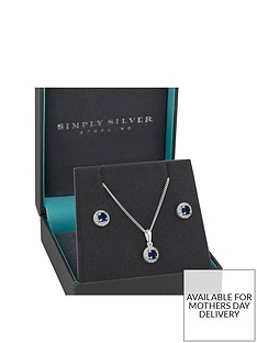 jon-richard-simply-silver-sterling-silver-sapphire-cubic-zirconia-halo-earrings-pendant-set