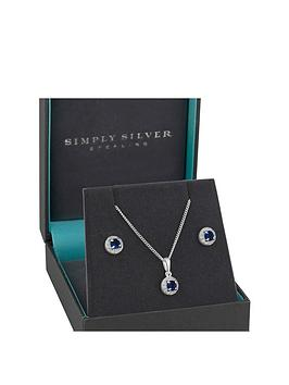 Simply Silver Simply Silver Simply Silver Sterling Silver Sapphire & Cubic  ... Picture