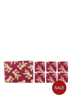 portmeirion-etched-leaves-placemat-and-coaster-10-piece-set-ndash-pink-and-gold