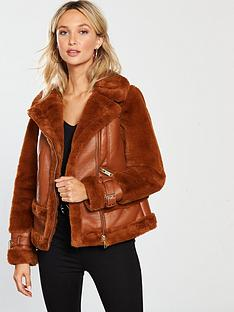 river-island-faux-fur-contrast-aviator-jacket-tan