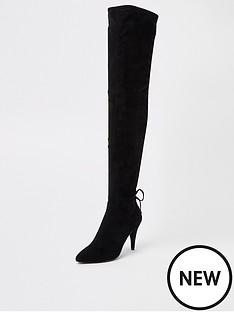 river-island-river-island-pointed-knee-high-sock-boot-black