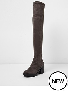 river-island-river-island-chunky-sole-over-the-knee-boots-grey