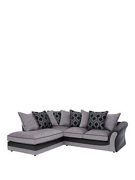 Very Milan Faux Leather And Fabric Left Hand Corner Chaise Scatter Back  ... Picture