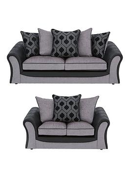 Very Milan Faux Leather And Fabric 3 Seater + 2 Seater Scatter Back Sofa  ... Picture