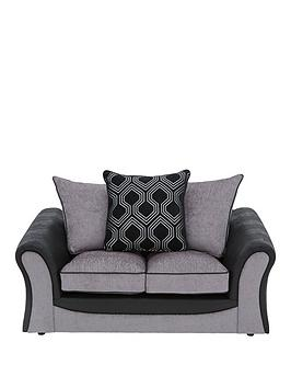 Very Milan Faux Leather And Fabric 2 Seater Scatter Back Sofa Picture