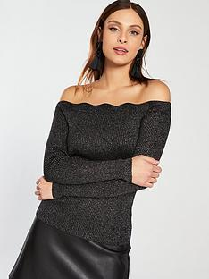 oasis-harper-lurex-scallop-bardot-knitted-top-black