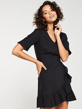 v-by-very-cotton-wrap-dress-black