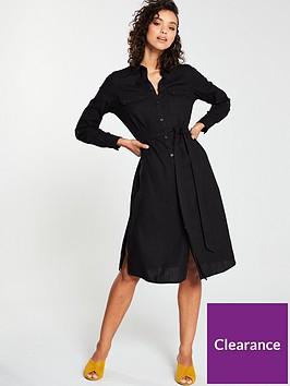 v-by-very-linen-button-through-shirt-dress-black