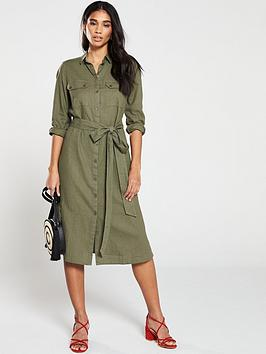 v-by-very-linen-button-through-shirt-dress-khaki
