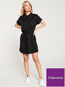 v-by-very-button-through-tie-waist-tunic-dress-black