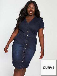 v-by-very-curve-buttonnbspfront-denim-dress-indigo