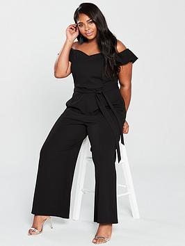 V by Very Curve V By Very Curve Bardot Wide Leg Jumpsuit - Black Picture