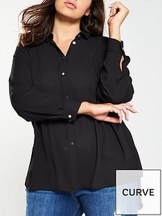 v-by-very-curve-button-through-longline-shirt-black