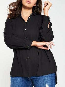 V by Very Curve V By Very Curve Button Through Longline Shirt - Black Picture