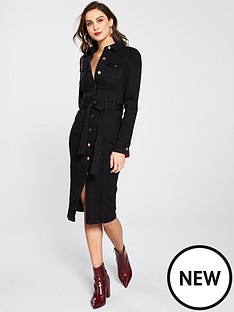 v-by-very-tie-waist-denim-dress-black