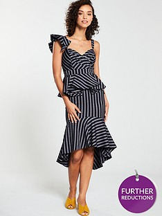 v-by-very-stripe-peplum-dress-monochrome