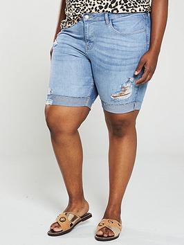 V by Very Curve V By Very Curve Distressed Longline Rolled Up Denim Shorts  ... Picture