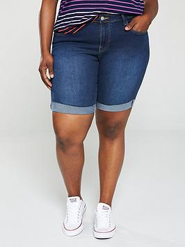 V by Very Curve V By Very Curve Longline Rolled Up Denim Shorts - Dark Wash Picture