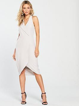 river-island-river-island-wrap-front-fitted-dress--grey