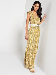 v-by-very-shirred-waist-aztec-maxi-dress-print