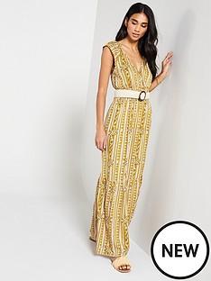 6f1ba0ea308 V by Very Shirred Waist Aztec Maxi Dress - Print