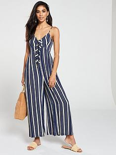 v-by-very-striped-tie-front-jumpsuit-blue-print