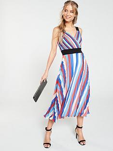 d31fd7d358a V by Very Pleated Rainbow Midi Dress - Multi
