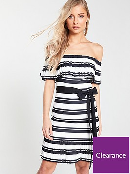 v-by-very-tie-waist-bardot-dress-stripe
