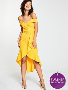 v-by-very-wrap-ruffle-front-pencil-dress-yellow