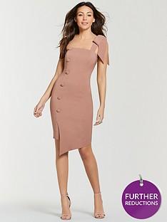 michelle-keegan-button-side-pencil-dress-nude