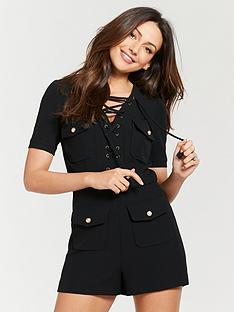 4a2ed81ddcf Michelle Keegan Lace Up Utility Playsuit - Black