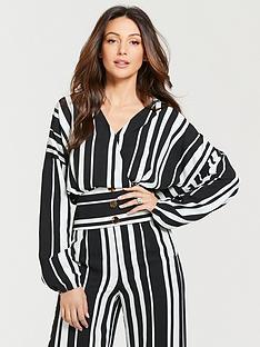 michelle-keegan-printed-long-sleeve-linen-shirt-mono-stripe