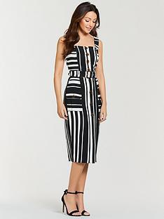 michelle-keegan-belted-stripe-midi-dress-mono-stripe