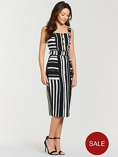 michelle-keegan-belted-stripe-midi-dress-mono-stripe