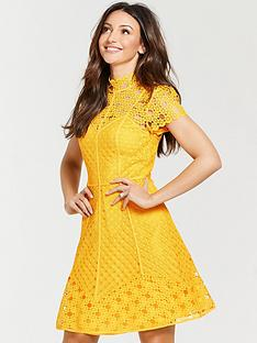 michelle-keegan-high-neck-skater-dress-yellow