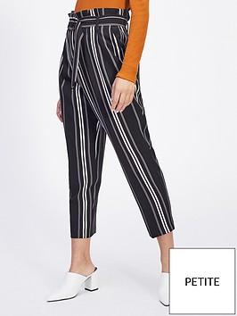 miss-selfridge-petite-stripe-paperbag-trouser-monochrome