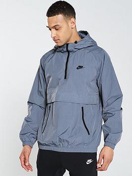 nike-sportswear-half-zip-woven-hooded-jacket-blue