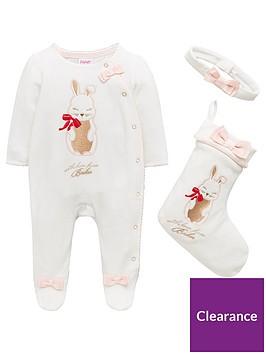 98767d1a9913 Baker by Ted Baker Baby Girls Bunny Velour Sleepsuit   Stocking Set ...