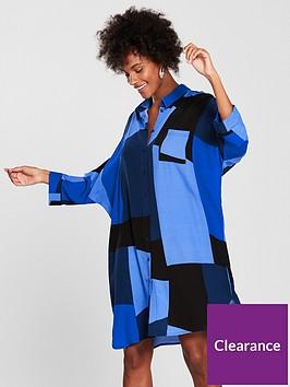 vero-moda-molly-34-long-sleeve-shirt-dress-blue