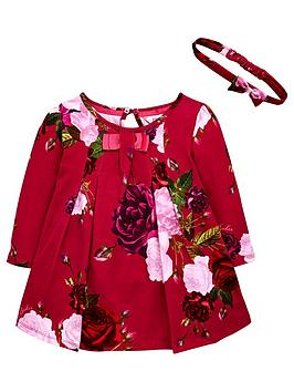 ff10be05dc0d3 Baker by Ted Baker Toddler Girls Rose Print Jersey Dress   Headband ...