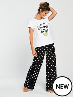 09444fa725 V by Very Gin Slogan Pyjama Set - Monochrome