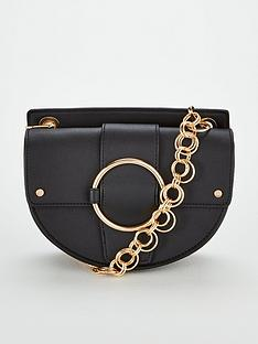 michelle-keegan-palma-circle-chain-strap-saddle-bag-black