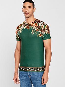 river-island-green-floral-shoulder-print-slim-fit-t-shirt